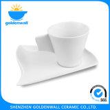 Tazza di caffè bianca ecologica della porcellana 120ml con il piatto
