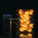 Forma de abóbora LED Silver Wire 2AA Cadeia de luz de corda operada por bateria para decoração interior