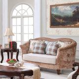 Sofa de tissu de capitonnage avec la présidence classique américaine en bois de bras de Loveseat de divan