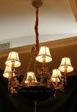 Хороший европейский медный светильник Fixtured привесной с тенью ткани