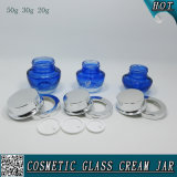 Make Up Container 50g 30g 20g Blue Coloured Cosmetic Glass Cream Jars With Silver Cap