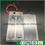 2AA effacent le support de batterie avec les fils, la couverture et commutateur rouges/noirs de fil