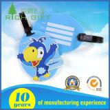 Tag duro personalizado da bagagem do PVC do plástico com a cinta desobstruída para presentes relativos à promoção