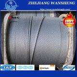 Corde galvanisée 7*19-5.0 de fil d'acier d'IMMERSION chaude