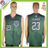 Diseño determinado sublimado hombre verde oscuro de encargo de las personas uniformes del baloncesto