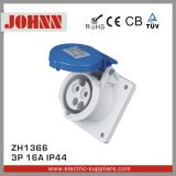 IP44 3p 16A Blue Panel Mounted Socket for Industrial