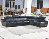 Sofa de cuir de forme d'U, sofa moderne, sofa noir de couleur (A302)