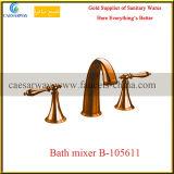 Misturador Recessed de Bathtub&Basin do banheiro 3 dos mercadorias maneira dourada sanitária
