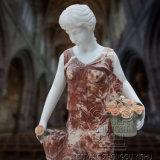 Figura di quattro stagioni rossa scultura della dea delle signore del rubinetto intagliata mano delle statue di marmo