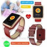 Los ancianos de la pantalla táctil de colores la Frecuencia Cardíaca reloj GPS Tracker (D28).