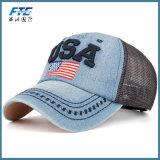 Chapeau en cuir fait sur commande de camionneur de chapeau de broderie de casquette de baseball de maille
