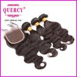 i capelli peruviani 8A tessono e l'onda del corpo delle chiusure impacchetta i capelli di 3 PCS con 1 trama Extenstions dei capelli umani della chiusura del merletto