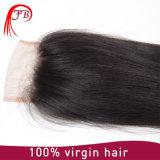 Heißes Verkaufs-mongolisches Jungfrau-Haar-gerade Spitze 4× 4 Menschen-Schliessen