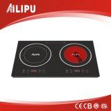 Piastra riscaldante Cooktop elettrico, fornello delle coperture due del metallo di induzione con il fornello infrarosso