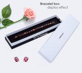 Rectángulo de empaquetado de la joyería de papel blanco y negro hecha a mano del regalo de la manera