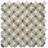 Mosaico del modelo de flor blanca de Thassos de la mezcla del verde de Ming