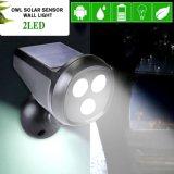 Die 2 LED-imprägniern Solarbewegungs-Fühler-Licht an der Wand befestigtes im FreienIP65 Garten-Rasen-Pfad-Sicherheits-Eulen-Scheinwerfer