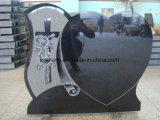 Het zwarte Ernstige Monument van het Graniet van de Gravure van de Stijl van de Grafsteen van de Engel van de Grafsteen Europese voor Begraafplaats