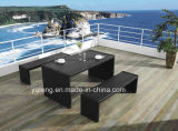 Competive Price Top Selling Outdoor Garden Aluminium + PS-Wooden Furniture Ensemble de salle à manger Ensemble de banc par table longue (YT376)