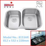 深の9インチ40/60個の台所洗面器、304ステンレス鋼の流し、棒流し