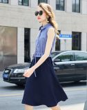/White-Streifen-Klage der Damen blaue mit einer Fußleiste und einer Quadrat-Muffe