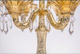 Sostenedor de vela de cristal claro para la decoración casera con cinco carteles,