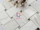 Mélange de glace de rétroviseur Calacatta or mosaïque de marbre de style de tricot (CFS1198)