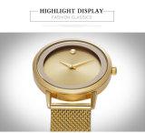 L'or en acier ultra-mince de marque de Belbi Digital de Madame montre de promotion de cadeau de montre-bracelet de femmes de face simple analogique de luxe de Sun, noir, argentent la couleur trois pour vous