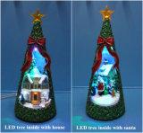 Decoratie 11 van Kerstmis '' geleide Boom binnen met van de Geboorte van Christus en de 11 LEIDENE '' van X'mas Boom binnen met Sneeuwman