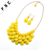 Nuevo joyería plateada de la manera del diseño oro fijada con la resina redonda