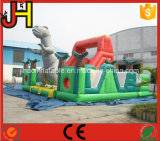 工場価格販売のためのジュラ紀公園の主題の膨脹可能な障害コンボのスライド