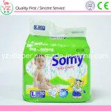 Somy L10等級の綿の感じ及び高い吸囚性の使い捨て可能な赤ん坊のおむつ
