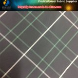 Weiße/grüne Zeilen, schwarzes Bodengarn gefärbtes Polyester-Plaid-Gewebe für Kleid (YD1175)