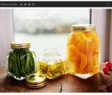 정연한 유리제 잼 단지는 또는 금 뚜껑 또는 유리 저장 그릇을%s 가진 꿀 유리제 단지를 돋을새김한다