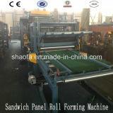 Linha de produção da máquina do painel de sanduíche de Wool&EPS da rocha do projeto de Pouplar