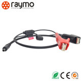 Conector circular Push Push com cabo de grampo vermelho preto