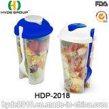 Чашка трасучки салата контейнера еды пластичная с вилкой (HDP-2018)