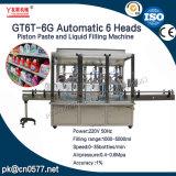 Goma automática del pistón de 6 pistas de Gt6t-6g y máquina de rellenar del líquido