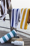 卸し売りホテルすべての綿の緑および白い縞の水泳タオル浜のヤーンによって染められるタオル