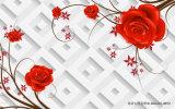 los círculos 3D y el diseño cariñoso del corazón imprimieron en el papel de empapelar para la decoración casera