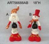 Cadeau de bouteille de vin Santa Snowman, 2 Décoration asseuse de Noël