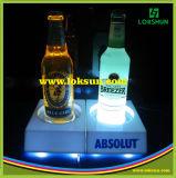 Soporte de visualización de acrílico claro de la botella con la luz del LED