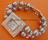 Latón del cuarzo del reloj de la pulsera de relojes de oro de las hembras de la calidad