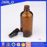 bernsteinfarbiges wesentliches Öl-Flasche Costom Kennsatz-Drucken-Glasflasche des Spray-100ml