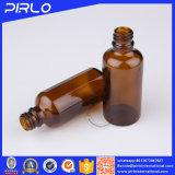 Frasco de petróleo essencial de vidro ambarino com conta-gotas da pipeta