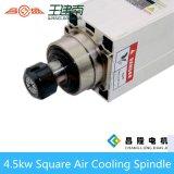 Мотор шпинделя изготовления 4.5kw квадратным охлаженный воздухом высокоскоростной трехфазный асинхронный для деревянного высекая маршрутизатора CNC