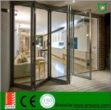 Puerta de plegamiento del BI del patio. Puerta de plegamiento de cristal de aluminio con alta calidad del precio bajo