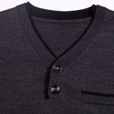 MenのためのアクリルかWool V Neck Semi Openness Pullover Sweater