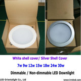 Dimmable Blanco Plateado Shouing Lámpara de techo 15W LED Downlight