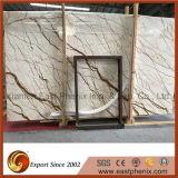 Сляб мрамора золота Sofitel ввоза для верхней части тщеты стены плитки